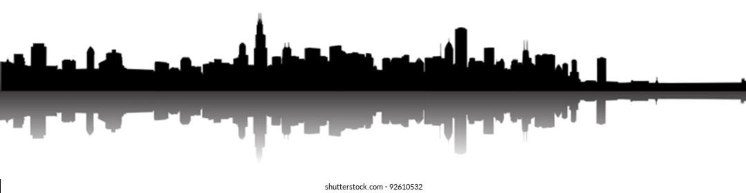 Chicago skyline panorama silhouette