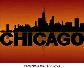 Chicago skyline reflected at sunset vector illustration