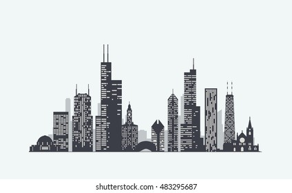 chicago skyline silhouette images stock photos vectors shutterstock rh shutterstock com Chicago Style Pizza Chicago Black and White