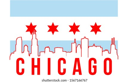 Chicago skyline silhouette background, vector illustration and flag in background