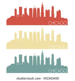 Chicago Skyline Silhouette City Stamp Vector Color Vintage Set