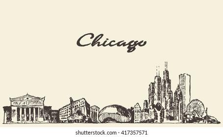 Chicago skyline, vintage engraved illustration, hand drawn, sketch