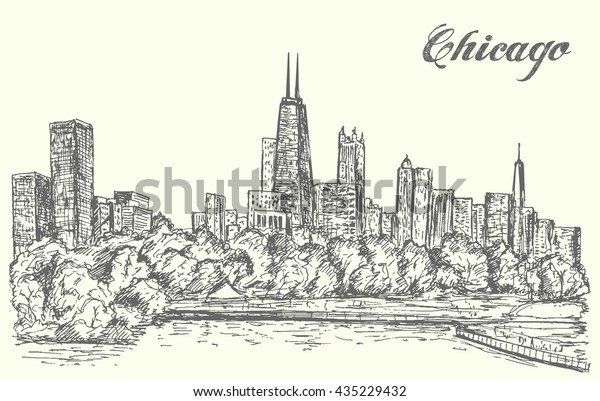 Chicago skyline,hand drawn,sketch style,isolated,vector,illustration