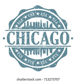 Chicago Stamp Post Skyline Silhouette City Vector Design Art