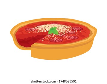 Chicago style Deep Dish Pizza icon vector. Delicious deep dish pizza pie with tomatoes, salami and cheese icon vector isolated on a white background