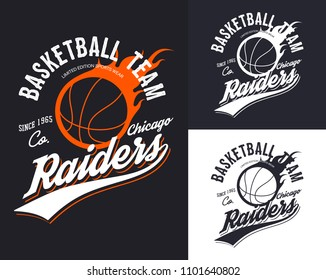 Chicago university or college, varsity or school basketball team t-shirt logo. Set of isolated symbols for streetball championship or competition. Sport clothing and branding, athletic theme