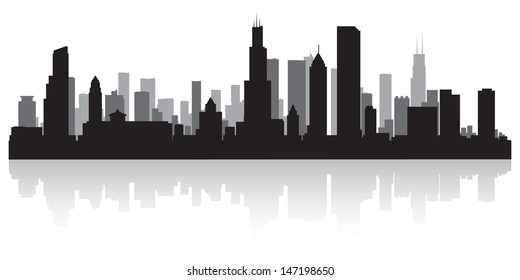 Chicago USA City Skyline Silhouette Vector Illustration