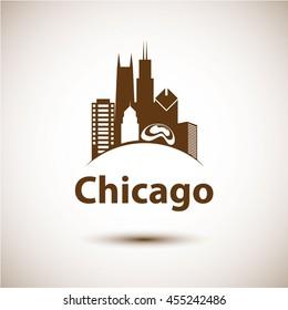 CHICAGO, USA â?? JULY 18, 2016: skyline silhouette, black and white design, vector illustration
