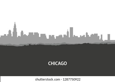 Chicago, USA skyline. City silhouette with skyscraper buildings, with famous American landmarks. Urban architectural landscape. - Vector