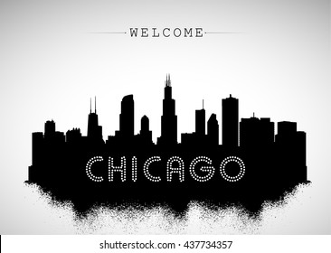 Chicago USA skyline silhouette, black and white design, vector illustration.