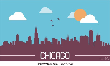 Chicago USA skyline silhouette flat design vector illustration.