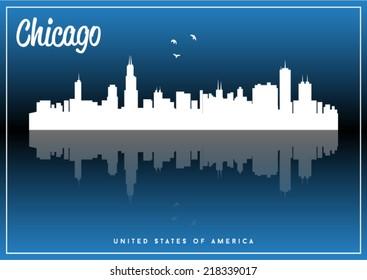 Chicago, USA skyline silhouette vector design on parliament blue background.