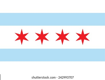 Chicago vector flag. Chicago city flag, state of Louisiana, U.S.A.