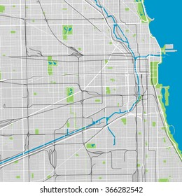 Chicago vector map ultra detailed