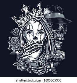 Chicano style tattoo vintage concept with dice roses diamond skeleton in fedora hat covering mouth of girl in ornate crown isolated vector illustration