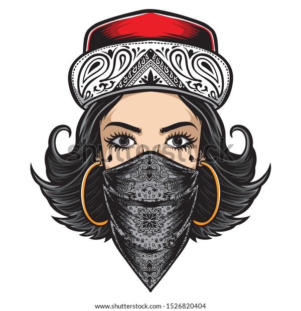 Chicano Style Women Logo Vector Stock Vector Royalty Free 1526820404