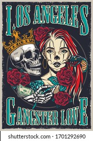 Chicano tattoo style vintage colorful poster with attractive girl snake skull in crown diamond money skeleton hand holding rose vector illustration