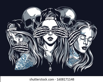 Chicano tattoo style vintage concept with see hear speak no evil composition isolated vector illustration