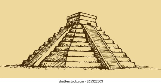 Chichen Itza Tulum the Kukulcan crypt tomb pyramid El Castillo, Carmen. Vector monochrome freehand ink drawn background sketch in art scribble antiquity style pen on paper with space for text on sky