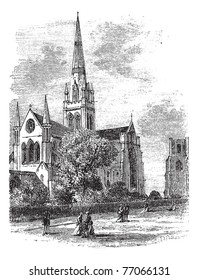 Chichester Cathedral or Cathedral Church of the Holy Trinity, in Sussex, England, during the 1890s, vintage engraving. Old engraved illustration of Chichester Cathedral. Trousset Encyclopedia