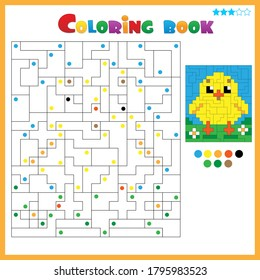Chick or chicken. Coloring book for kids. Colorful Puzzle Game for Children with answer.