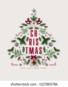 Chick Christmas Postcard with Christmas Tree made of Realistic Festive Elements. Flat lay, top view.