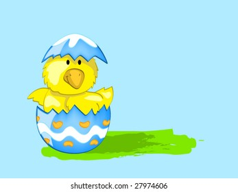 Chick in egg (editable layers)