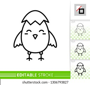 Chick in eggshell thin line icon. Easter poster. Spring banner in flat style. Simple illustration, outline symbol. Linear pictogram. Vector sign isolated on white. Editable stroke icon without fill