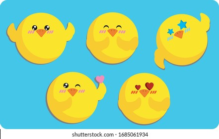 Chick emoji stickers cute round icons set vector