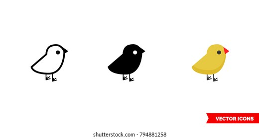 Chick icon of 3 types: color, black and white, outline. Isolated vector sign symbol.