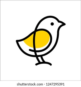CHICK logo vector icon template monoline color line art outline