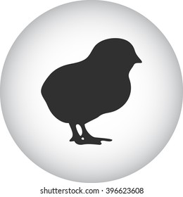 Chick silhouette simple icon on round background