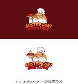 Chick and Steak Logo Illustraion