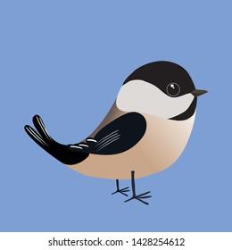 A chickadee cartoon illustration on a blue background