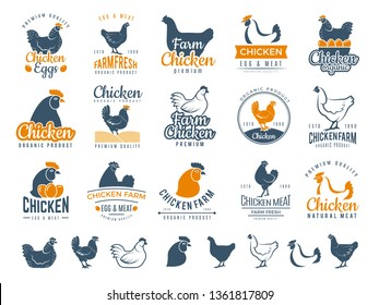 Chicken badges. Fresh farm food logotype cooking egg and bird broilers vector labels
