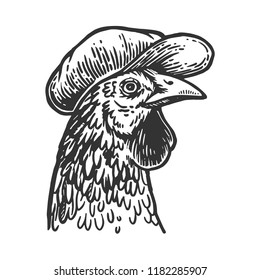 Chicken bird in flat cap engraving vector illustration. Scratch board style imitation. Black and white hand drawn image.