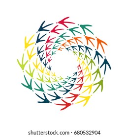 Chicken bird footprint spiral. Decorative design element, frame, banner