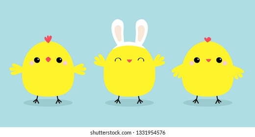Chicken bird set line. Face head wearing rabbit bunny ears band. Cute cartoon funny kawaii baby character. Happy Easter. Friends forever. Flat design. Greeting card Blue pastel color background Vector