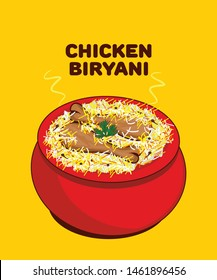 Chicken Biryani the authentic indian cuisine vector illustration
