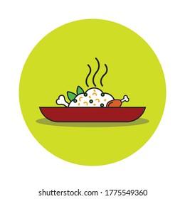 Chicken Biryani Flat Style Vector Illustration Design. Indian traditional cuisine Biryani. Biryani ad template and Poster Design.