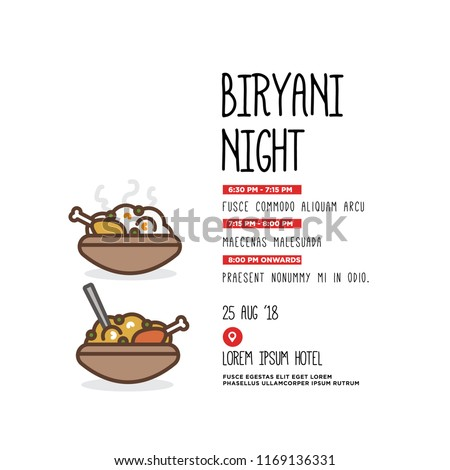 chicken biryani night invitation date venue stock vector royalty