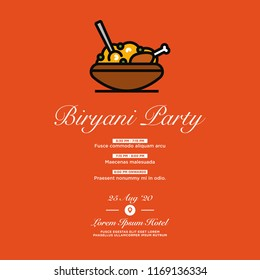Chicken Biryani Party Invitation with Date and Venue Details Vector Illustration