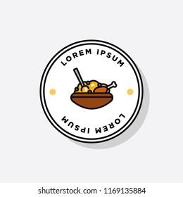 Chicken Biryani Pot Badge or Sticker Flat Style Design Vector Illustration