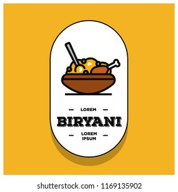 Chicken Biryani Pot Badge or Sticker Flat Style Design Vector Illustration