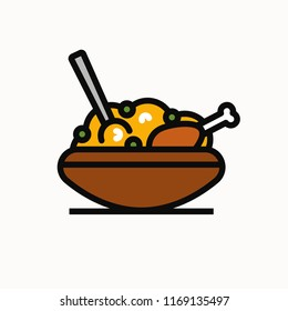 Chicken Biryani Pot Vector Illustration
