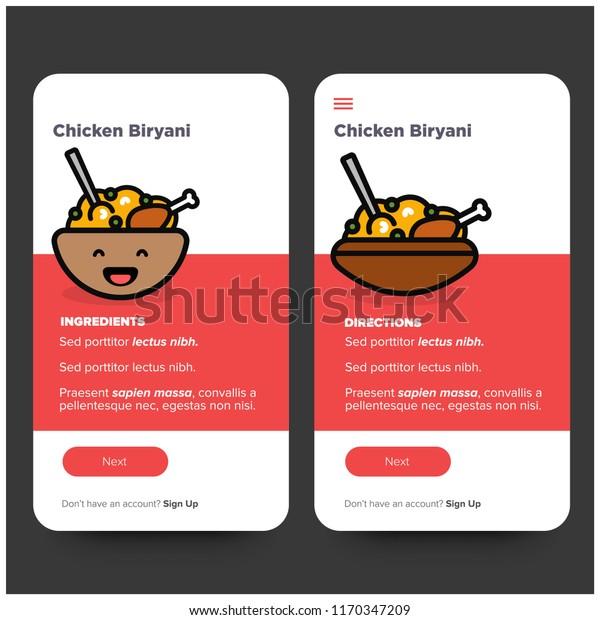 Chicken Biryani Recipe App Ux Ui Stock Vector (Royalty Free