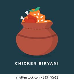 Chicken Biryani Vector Illustration. Biryani in Clay Pot Concept. Indian Cuisine Meal / Dish.