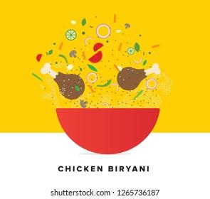 Chicken Biryani Vector Illustration. Traditional Mughlai Indian Cuisine.