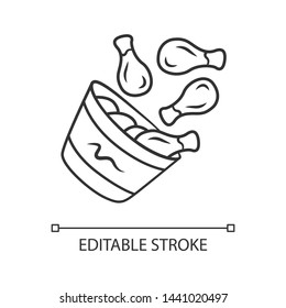 Chicken bucket linear icon. BBQ chicken drumsticks, legs. Unhealthy fast food. Restaurant, steakhouse menu. Thin line illustration. Contour symbol. Vector isolated outline drawing. Editable stroke