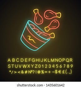Chicken bucket neon light icon. BBQ chicken drumsticks, legs. Unhealthy fast food. Cafe, steakhouse menu. Meat cookery. Glowing sign with alphabet, numbers and symbols. Vector isolated illustration